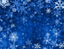 Blue wallpaper - frozen snowflakes on the wall