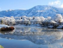 Frozen bridge over the lake - HD winter wallpaper