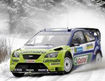 Ford rally car in the winter season - HD wallpaper
