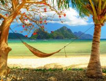 Hammock on the beach - Beautiful summer holiday