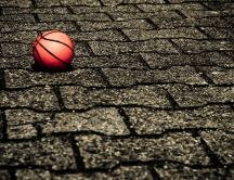 Basketball ball on the street - hd sport wallpaper