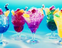 Colored cocktails with ice and fruits - HD wallpaper