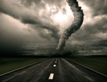 Big tornado on the middle of the road- HD wallpaper