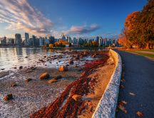 Wonderful Autumn landscape - City near the ocean
