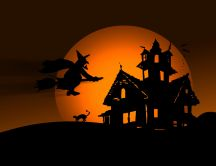 Witch in the Halloween night - HD wallpaper