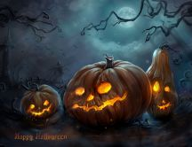 Scary pumpkins in the cemetery - Happy Halloween night