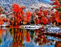 Wonderful nature landscape -Autumn forest - snow on mountain