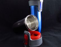 Blue and red thermos for hot coffee - HD wallpaper