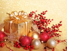 Wonderful Christmas ball and gift box with glitter