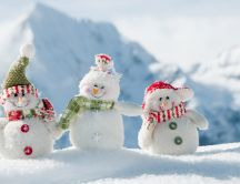Happy three snowmen - Magic winter holiday