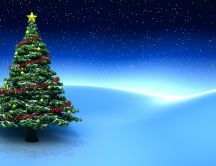 Christmas tree on a magic blue night - HD wallpaper
