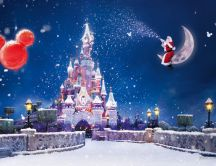 Wonderful magic Christmas night over the Disney Land Paris