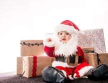 Wonderful baby Santa and the gifts - HD winter Holiday
