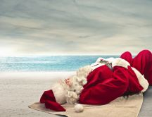 Great holiday for Santa Claus at the seaside