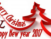 Merry Christmas and Happy New Year 2017 - Red wallpaper