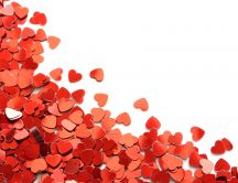 Millions red hearts on a white table - Happy Valentines Day