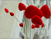 Sweet red balloons in shape of hearts - Happy Valentines Day