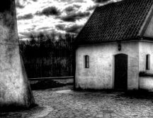 Black and white old rustic house in the museum