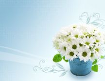 Small white chrysanthemums on a wonderful blue bouquet