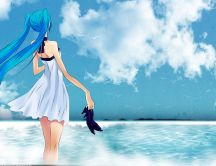 Long blue hair - Anime girl at seaside - HD wallpaper