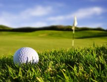 Macro golf ball on the sport field - HD wallpaper
