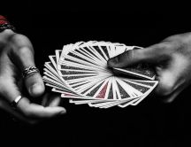 Magic cards and magic hands - HD black and white wallpaper