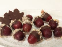 Acorns made from grapes and chocolate - Funny and sweet food