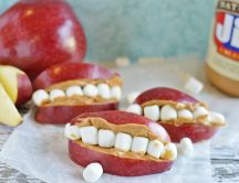 Funny but scary apples and marshmallow