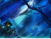 Ghosts and spider-web on the Halloween night