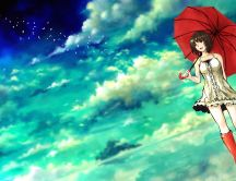 Red boots and umbrella - Beautiful anime girl