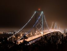 Lights on a wonderful bridge in San Francisco - HD wallpaper