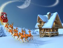 Santa Claus and his deers on a small house - Merry Christmas