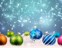 Colorful Christmas balls in the snow -HD Christmas wallpaper