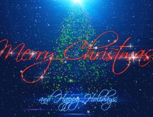 Merry Christmas and Happy New Year 2018 - Blue background