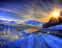Wonderful sunny day in Alaska - White Winter season