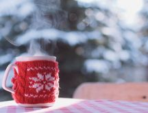 Funny red cloth for a cup of tea - Cold winter season