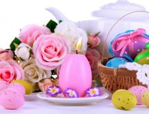 Candle egg and basket full with Easter eggs - Happy Holiday