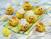 Happy chickens made from marzipan - Easter Holiday