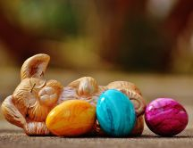 Funny bunny and Easter colorful eggs - Happy Holiday