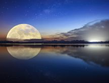 Big moon reflection in the lake - Wonderful mirror effect