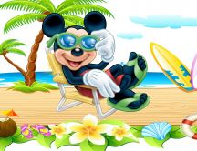 Mickey Mouse at the beach - Funny Cartoon wallpaper