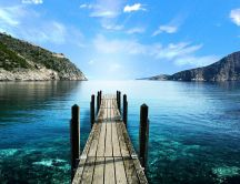 Wonderful view wooden pontoon and beautiful ocean water