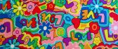 Love flower power colorful wallpaper design