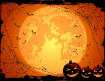 Big moon and scary pumpkins - Halloween night