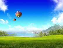 Two hot air ballon over the city - Wonderful green field