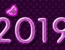 Purple 2019 Happy New Year - HD wallpaper