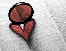 Heart in a book make with a mirror - Love reading