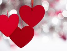 Love time - Red hearts and bubble light on background