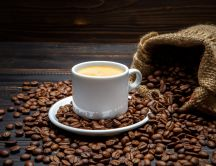 Hot coffee from fresh coffee beans - Morning drink