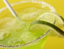 Fresh limonade with limes and ice cubes - Summer drink